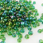250 Rocailles Perlen Glasperlen 4mm AB grün Glas Beads Bastelperlen -988