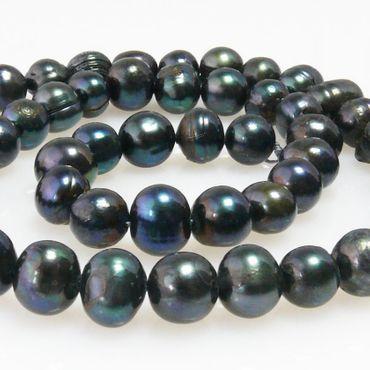 1 Strang Süßwasserperlen Perlenstrang Zuchtperlen schwarz Perlen 7-8mm -1629 – Bild 1