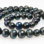 1 Strang Süßwasserperlen Perlenstrang Zuchtperlen schwarz Perlen 7-8mm -1629 001