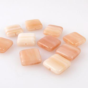 10 edle Glasperlen Quadrat Kissen 10mm Perlen apricot gemasert Bastelperlen -417 – Bild 2