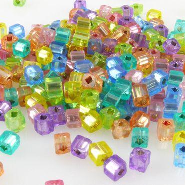 250 Glasperlen Würfel 3mm mit Silbereinzug Perlen bunt zum Basteln -744