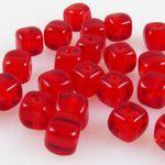30 Perlen Glasperlen Würfel 5mm Perlen rot Würfelperlen rote Beads -120