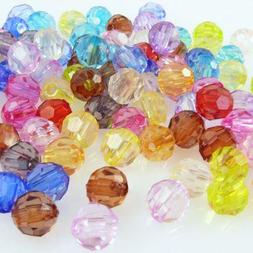 100 Perlen Mix bunte Kugeln 6mm runde Bastelperlen aus Kunststoff -626