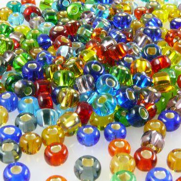 260x Rocailles 6/0 Perlen-Mix mit Silbereinzug 4mm bunte Indianerperlen -373