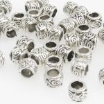 50x Metallperlen Spacer kleine Beads 3,5x4mm Metall Perlen altsilber Metallbeads