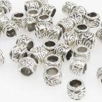 50x Metallperlen Spacer kleine Beads 3,5x4mm Metall Perlen altsilber Metallbeads 001
