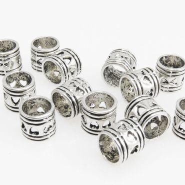 15 Metallperlen Perlen 6mm Spacer Großlochperlen Beads silberfarben -118