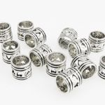 15 Metallperlen Perlen 6mm Spacer Großlochperlen Beads silberfarben -118