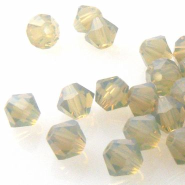 10x SWAROVSKI ELEMENTS 5301 Bicone 4mm Light Grey Opal Glasperlen Doppelkegel – Bild 1