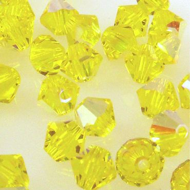 10x SWAROVSKI ELEMENTS 5301 Bicone 4mm Citrine AB Glasperlen Doppelkegel -1567 – Bild 1