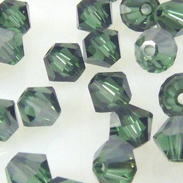 10x SWAROVSKI ELEMENTS 5301 Bicone 4mm Green Turmalin Satin Glasperlen Kegel – Bild 1
