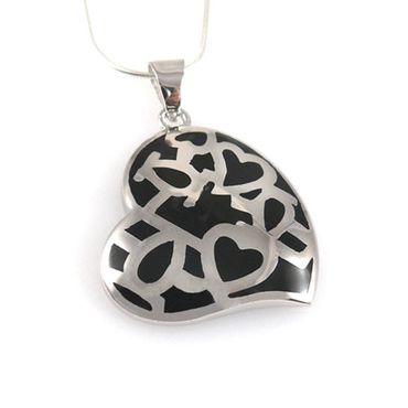 Herz Anhänger Silber 925 rhodiniert Silberanhänger 3,5cm Herzanhänger -1217