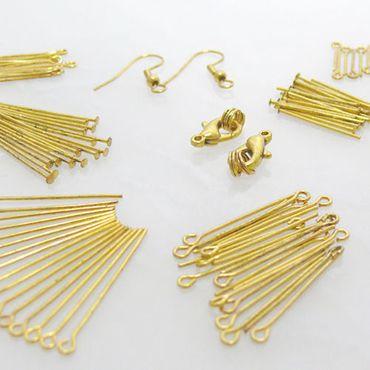 Bastelset 112tlg. Kettelstifte Kopfstifte Verschlüsse altgold Ketten Verbinder – Bild 1