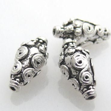 3 edle Metallperlen Amphoren silber antik 15mm Metall Perlen -784