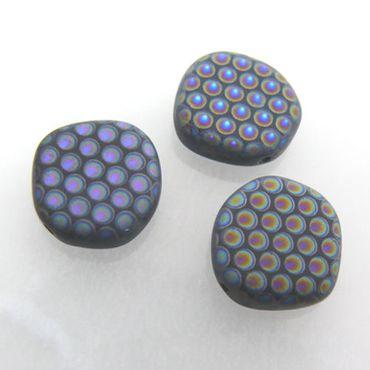 3x Glasperlen Scheiben 14mm Perlen schwarz bunt zum Schmuck basteln -573 – Bild 1