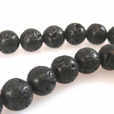 1 Strang Lavaperlen rund schwarz 10mm Perlen Perlenstrang Lava -1096