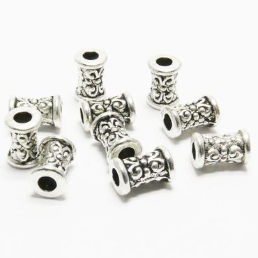 10x Metallperlen Perlen 7mm Spacer Walzen Großlochperlen altsilber -144