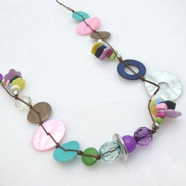 modische Damen Halskette 83cm bunt Perlmuttperlen Perlen Kette Perlenketten