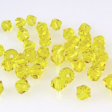 100x SWAROVSKI ELEMENTS 5328 Bicone 4mm Citrine Glasperlen gelb Doppelkegel-1482