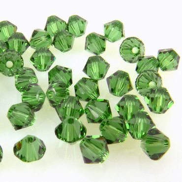 100x SWAROVSKI ELEMENTS 5328 Bicone 4mm Fern Green Glasperlen grün Doppelkegel