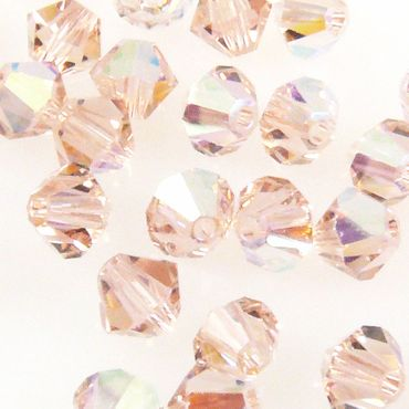 100x SWAROVSKI ELEMENTS 5301 Bicone 4mm Vintage Rose AB Glasperlen Doppelkegel