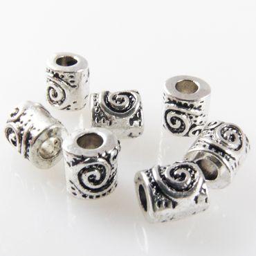 7 Metallperlen Perlen 6mm Spacer Großlochperlen Beads altsilber Metallbads