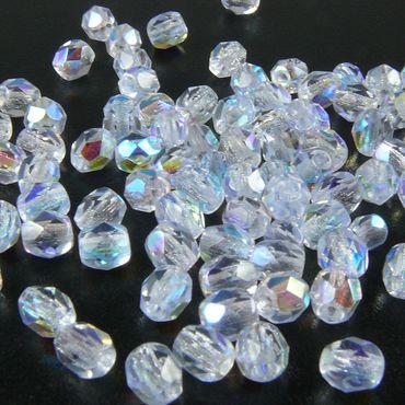 100 feuerpolierte Glasschliffperlen 4mm kristall AB Perlen transparent
