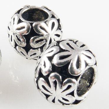 3x Metallperlen 13mm altsilber Großlochperlen Charms Blumen Beads -1704 – Bild 1
