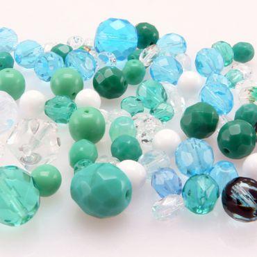 60 St. Perlen türkis azur Glasschliffperlen Perlenmischung 6-12mm Beads Mix -457