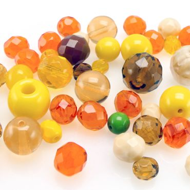 40 St. Perlen Glasschliffperlen Perlenmischung 6-12mm Beads Mix gelb orange topas