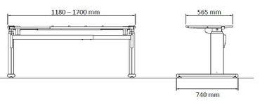 Elektrisch höhenverstellbarer Schreibtisch. C-Fuß-Tischgestell »TOP-ECO Classic V2« stufenlos einstellbar mit 2-stufigen Teleskophubsäulen und 2 Motoren. Dynamische Tragfähigkeit bis 100 kg mit TÜV-Zertifizierung. – Bild 8