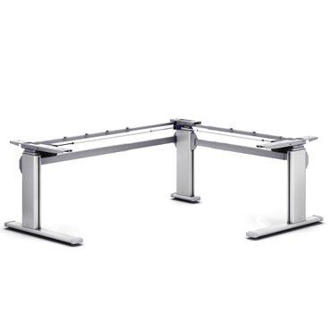 Elektrisch höhenverstellbarer Schreibtisch. C-Fuß-Winkel-Tischgestell 90° »TOP-ECO Classic V4« stufenlos einstellbar mit 2-stufigen Teleskophubsäulen und 2 Motoren. Dynamische Tragfähigkeit bis 100 kg. – Bild 1