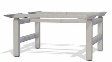 Elektrisch höhenverstellbarer Schreibtisch. T-Fuß-Doppel-Tischgestell »TOP-ECO Neo V6« stufenlos einstellbar mit 2-stufigen Teleskophubsäulen und 2x2 Motoren. Dynamische Tragfähigkeit bis 80 kg.