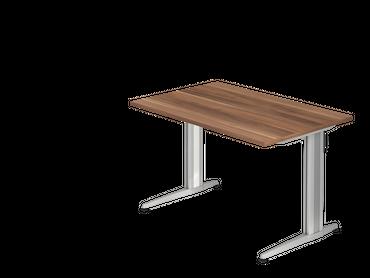 Schreibtisch, Rechteckform, Arbeitshöhe 720 mm, Tiefe 800 mm, Breite 800/1200/1600/1800 mm, Designer Aluminium C-Fuß-Kufen – Bild 7