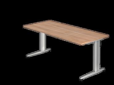 Schreibtisch, Rechteckform, Arbeitshöhe 720 mm, Tiefe 800 mm, Breite 800/1200/1600/1800 mm, Designer Aluminium C-Fuß-Kufen – Bild 5