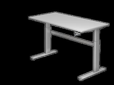 Schreibtisch höhenverstellbar mit Kurbel, Rechteckform, Arbeitshöhe 720-1190 mm, Gestell C-Fuß Silber – Bild 3