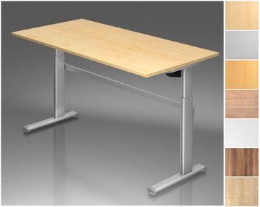 Elektrisch höhenverstellbarer Schreibtisch, Rechteckform, Arbeitshöhe 720-1190 mm, Gestell C-Fuß Silber – Bild 1