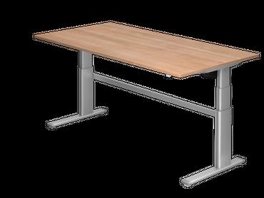 Elektrisch höhenverstellbarer Schreibtisch, Rechteckform, Arbeitshöhe 660-1300 mm, Gestell C-Fuß Silber – Bild 4