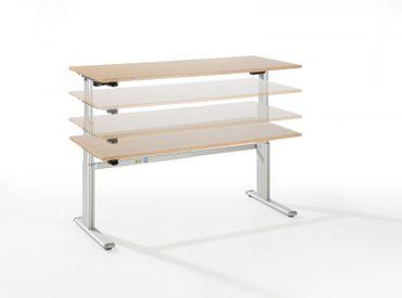 Elektrisch höhenverstellbarer Schreibtisch, Rechteckform, Arbeitshöhe 660-1300 mm, Gestell C-Fuß Silber – Bild 9
