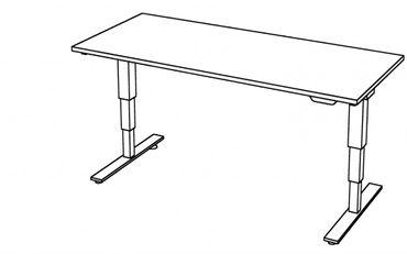 Elektrisch höhenverstellbarer Schreibtisch, Rechteckform, Arbeitshöhe 635-1285 mm, Gestell T-Fuß Stahl Silber – Bild 17