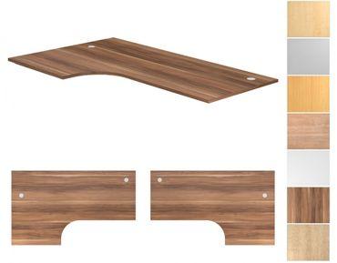 Tischplatte Winkelform 90°, Tiefe 800 mm, links/rechts 1200 mm, Breite 2000 mm, Anstellseite 800 mm, inkl. 2 Kabeldosen – Bild 1