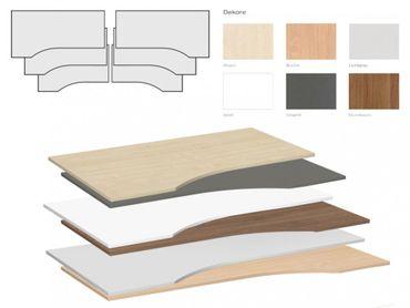 Tischplatte Winkelform 90° / Freiform, Tiefe 800 mm, links/rechts 1000 mm, Breite 1600/1800/2000 mm, Anstellseite 425 mm – Bild 1