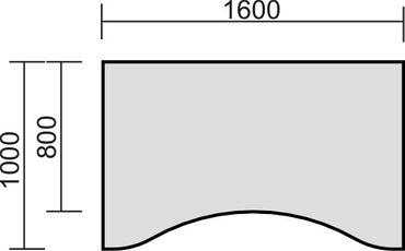 Tischplatte Ergonomieform, Tiefe 1000 mm, Breite 1600/1800/2000 mm – Bild 3