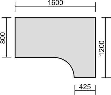 Tischplatte Winkelform 90° / Freiform, Tiefe 800 mm, links/rechts 1200 mm, Breite 1600/1800/2000 mm, Anstellseite 425 mm – Bild 3