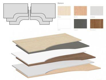 Tischplatte Winkelform 90° / Freiform, Tiefe 800 mm, links/rechts 1200 mm, Breite 1600/1800/2000 mm, Anstellseite 800 mm – Bild 1
