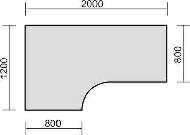 Tischplatte Winkelform 90° / Freiform, Tiefe 800 mm, links/rechts 1200 mm, Breite 1600/1800/2000 mm, Anstellseite 800 mm – Bild 5