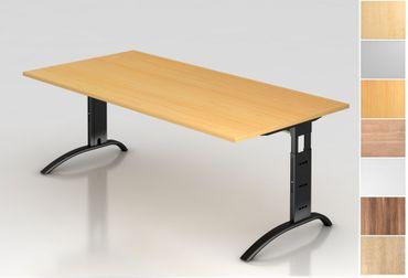 Schreibtisch höhenverstellbar, Rechteckform, Arbeitshöhe 650-850 mm, Tiefe 800/1000 mm, Breite 800/1200/1600/1800/2000 mm, Gestell C-Fuß Schwarz – Bild 1