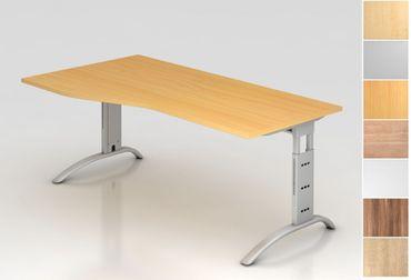 Schreibtisch höhenverstellbar, Freiform, Arbeitshöhe 650-850 mm, Tiefe 800 mm, links/rechts 1000 mm, Breite 1800 mm, Gestell C-Fuß Silber – Bild 1