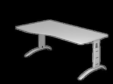 Schreibtisch höhenverstellbar, Freiform, Arbeitshöhe 650-850 mm, Tiefe 800 mm, links/rechts 1000 mm, Breite 1800 mm, Gestell C-Fuß Silber – Bild 3