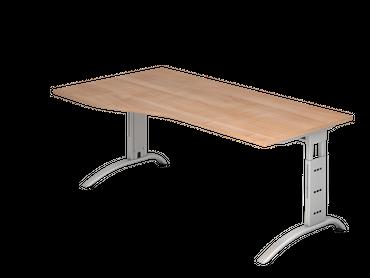 Schreibtisch höhenverstellbar, Freiform, Arbeitshöhe 650-850 mm, Tiefe 800 mm, links/rechts 1000 mm, Breite 1800 mm, Gestell C-Fuß Silber – Bild 5